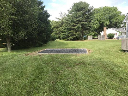 A gravel shed foundation in Felton, DE