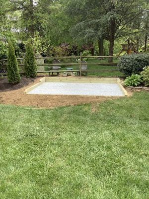 A gravel shed foundation in Hockessin, DE