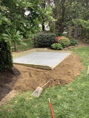 Shed foundation built in Hockessin, DE