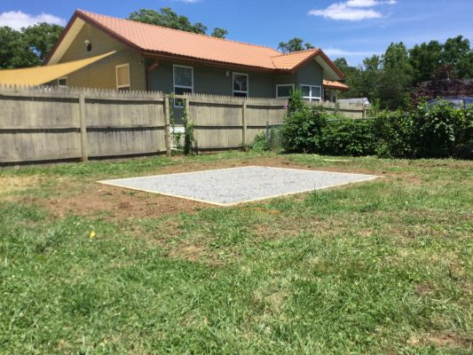 A crushed stone foundation for a shed in Mt. Ephraim, NJ