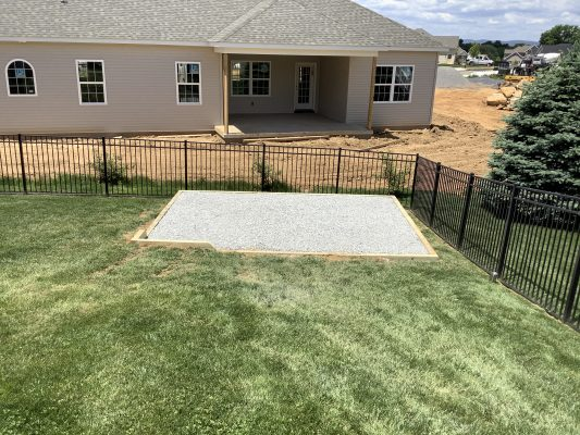 A gravel shed foundation in Mechanicsburg, PA