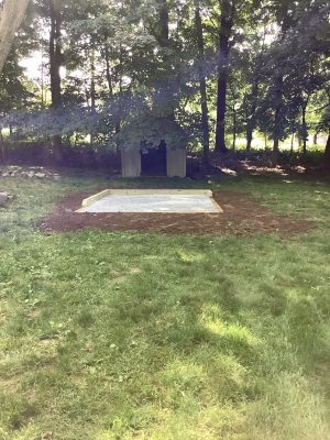 A gravel shed foundation in Suffern, NY
