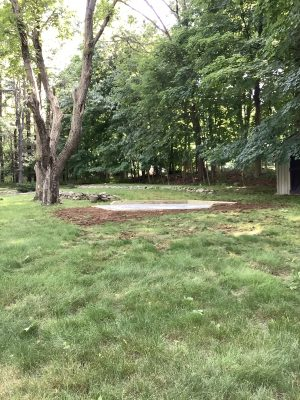 A crushed stone foundation for a shed in Suffern, NY