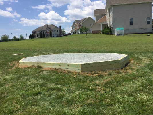 A crushed stone gazebo foundation in Elkton, MD