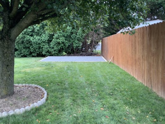 A gravel shed foundation in Bear, DE