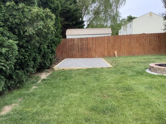 A crushed stone foundation for a shed in Bear, DE