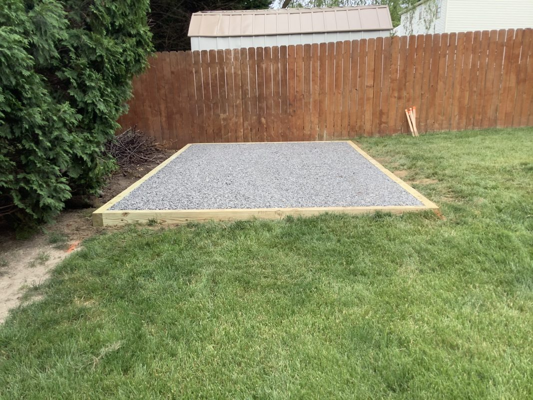 A shed foundation in Bear, DE