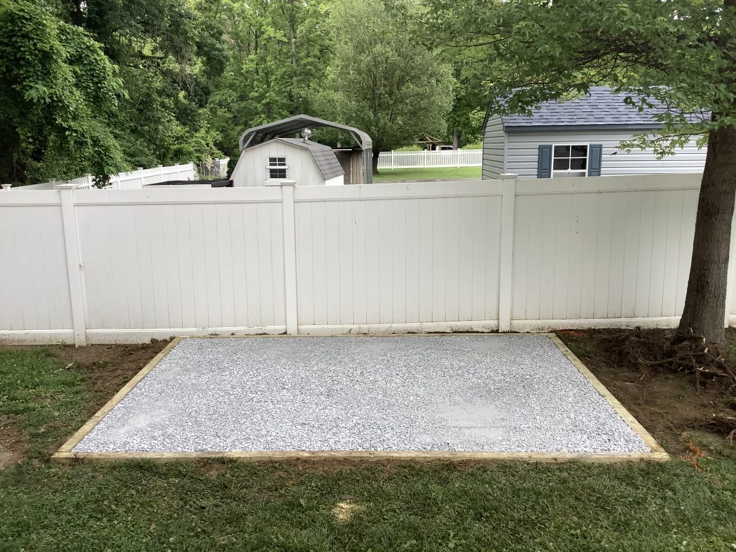 A gravel shed foundation in Sparrows Point, MD