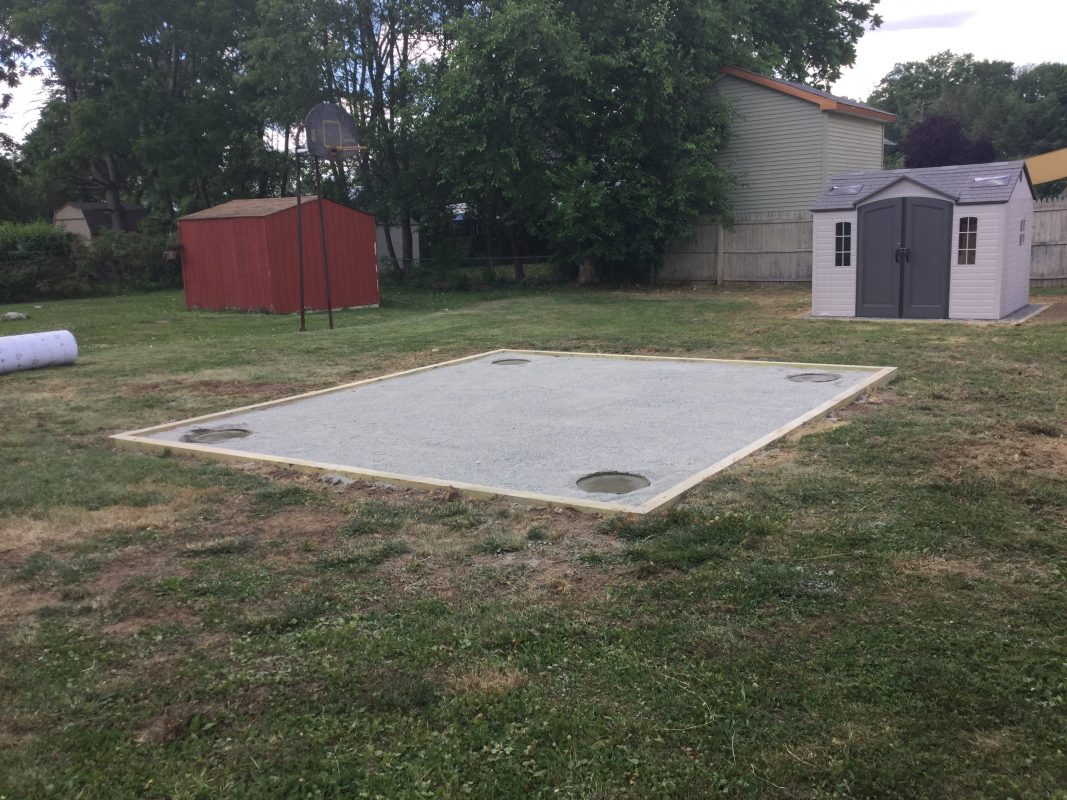 A shed foundation with concrete footers in Mt. Ephraim, NJ