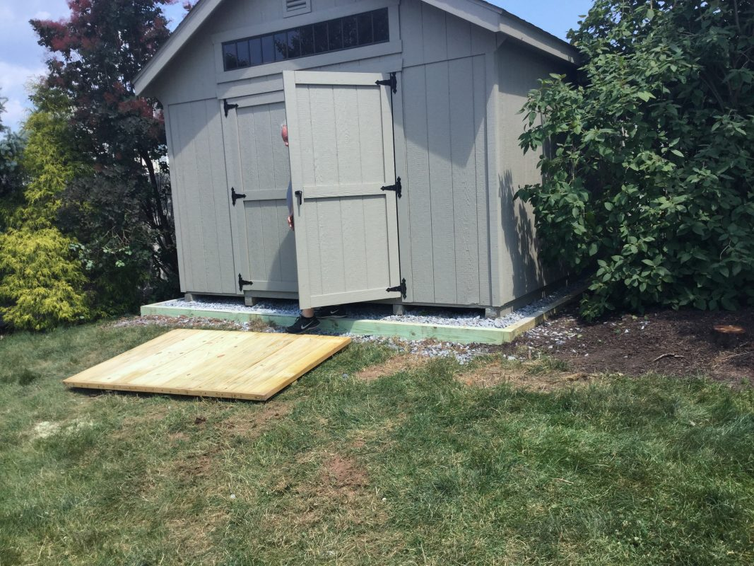 A crushed stone foundation for a shed in Quakertown, PA