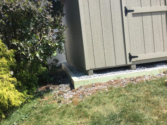 A gravel shed foundation in Quakertown, PA