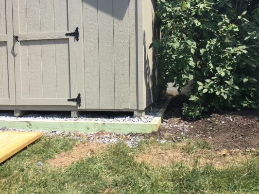 A shed on a gravel foundation in Quakertown, PA