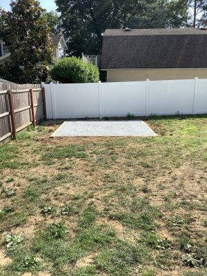 A gravel shed foundation in Red Bank, NJ