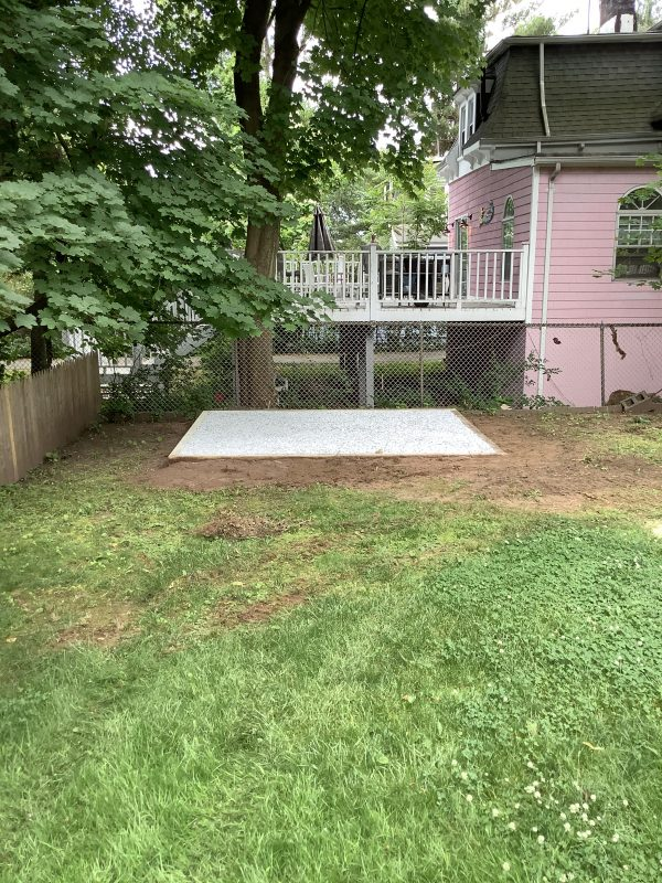 A crushed stone foundation for a shed in West Orange, NJ