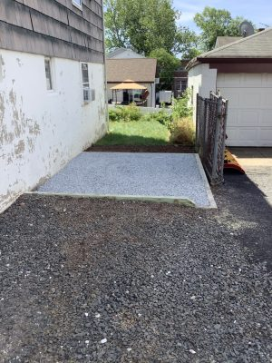 A gravel shed foundation in Hillside, NJ