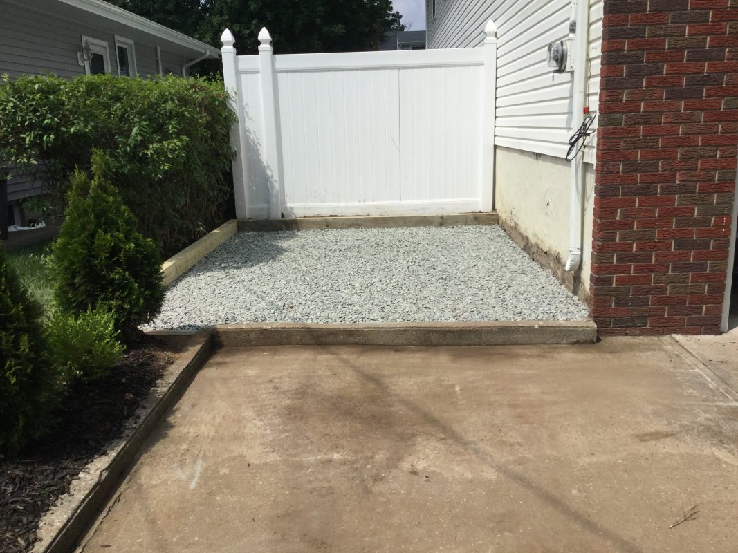 A gravel shed foundation in Fair Lawn, NJ