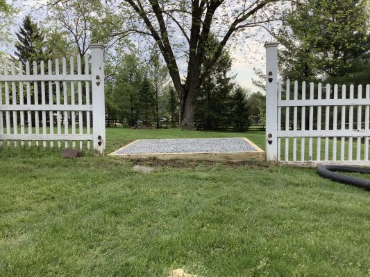 A gravel foundation for a shed in Doylestown, PA