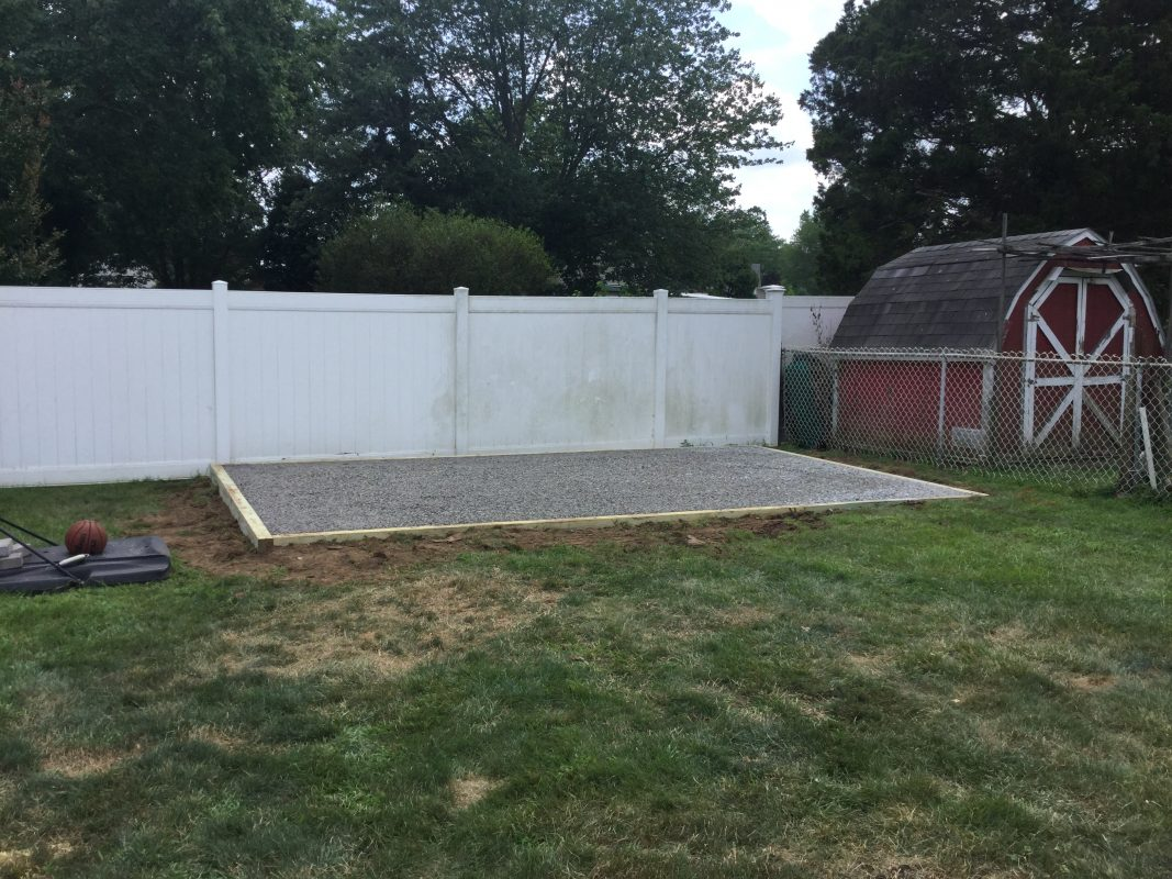 A gravel shed foundation in Old Bridge Township, MD