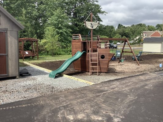 A new playset foundation built in Limerick, PA