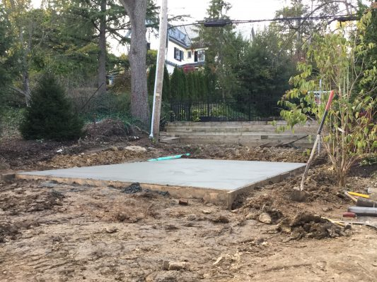 A concrete shed foundation in Wilmington, DE