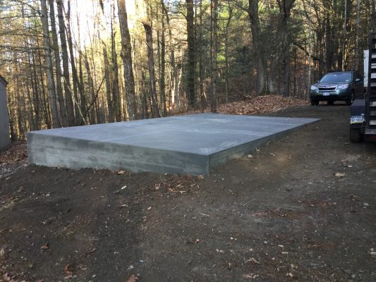 A concrete shed foundation in Austerlitz, NY