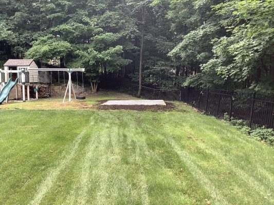 A crushed stone foundation for a shed in Kinnelon, NJ