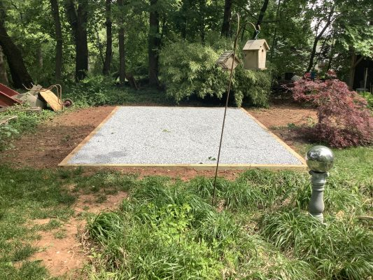 A gravel shed foundation in Phoenixville, PA