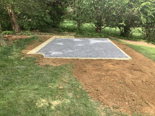 A gravel shed foundation in Macungie, PA