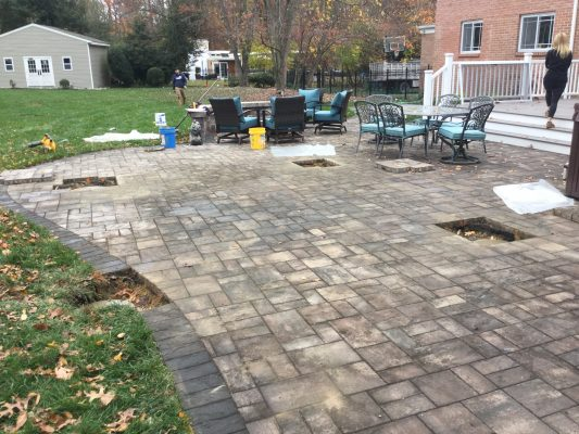 A concrete shed foundation in Cherry Hill, NJ