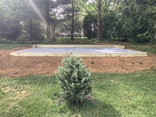 A shed pad installed in Macungie, PA