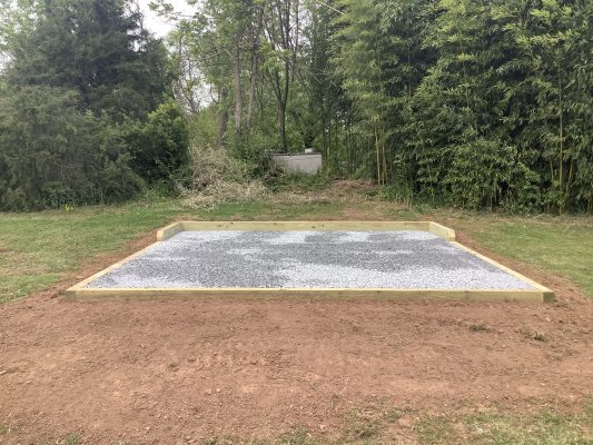 A gravel shed foundation in Arbutus, MD