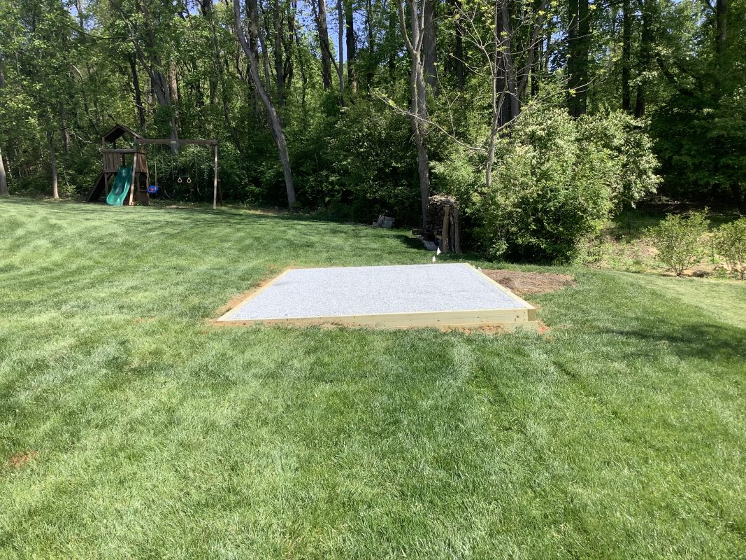 A gravel shed foundation in Downingtown, PA