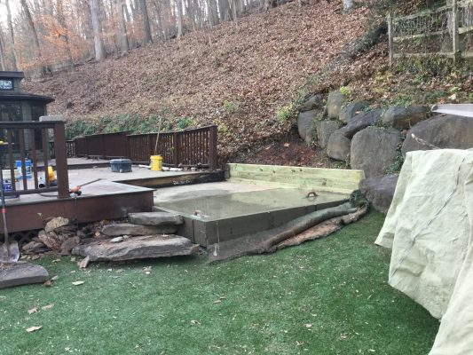 A concrete shed foundation in Conshohocken, PA
