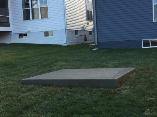 A concrete shed foundation in Monrovia, MD