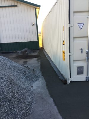 A concrete shed foundation in Ronks, PA
