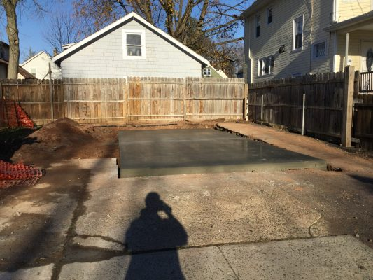 A concrete shed foundation in Plainfield, NJ