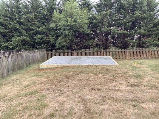A crushed stone shed foundation in Boonsboro, MD