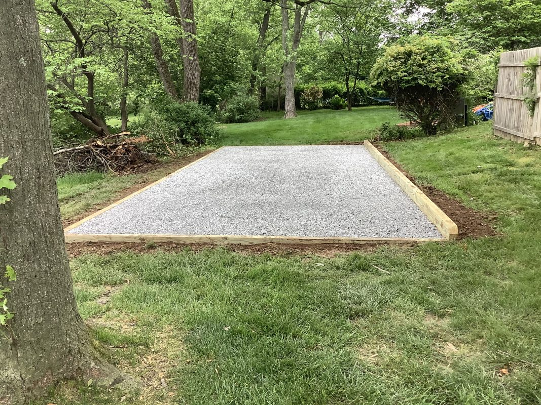 A gravel shed foundation in Horsham, PA