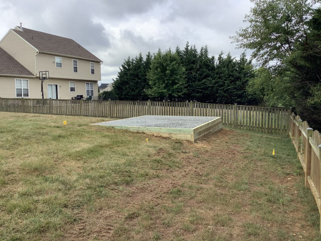 Foundation for a shed in Boonsboro, MD