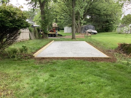 A foundation for a shed in Horsham, PA