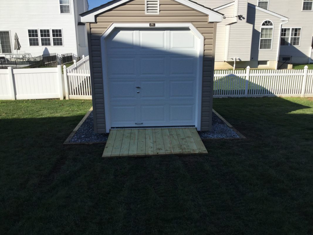 A gravel shed foundation in New Castle, DE