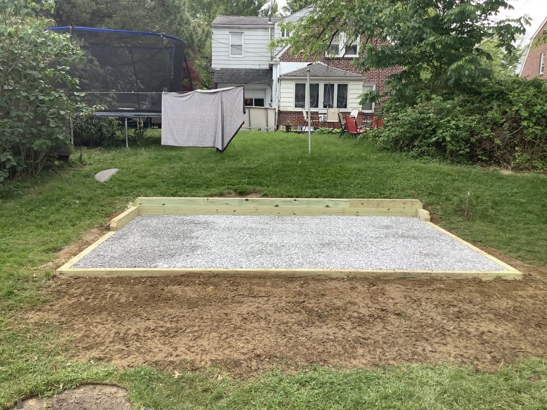 A gravel shed foundation in Wallingford, PA