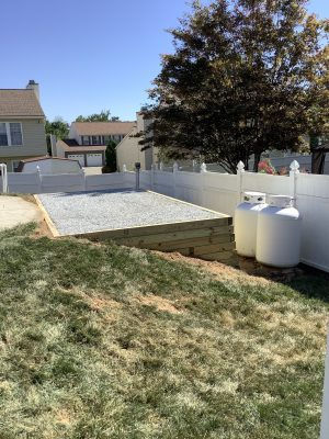 A gravel shed foundation in Randallstown, MD