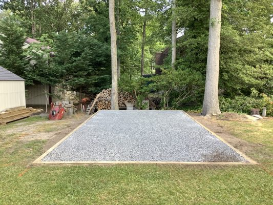 A crushed stone foundation for a shed in Ocean View, DE