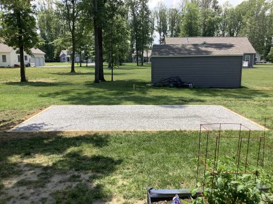 A crushed stone foundation for a shed in Milton, DE