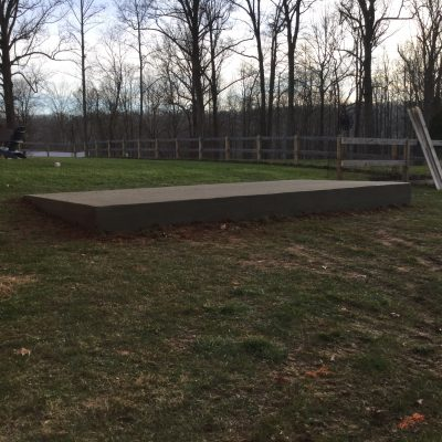 A concrete shed foundation in Jarrettsville, MD