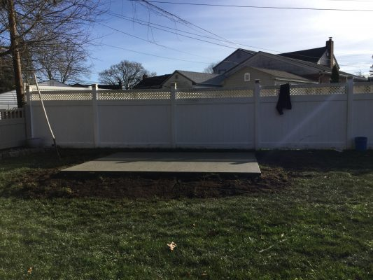 A concrete shed foundation in Springfield, PA