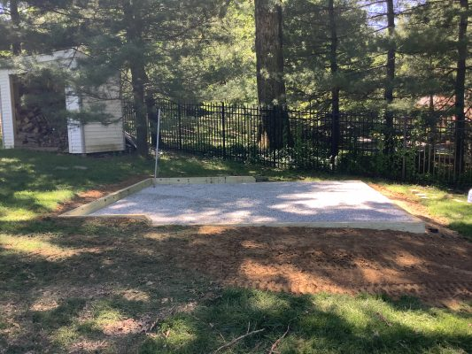 A crushed stone foundation for a shed in Potomac, MD