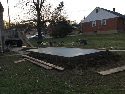 A concrete shed foundation in Wilmington, DE