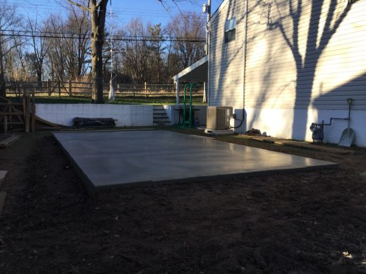 A concrete shed foundation in North Wales, PA